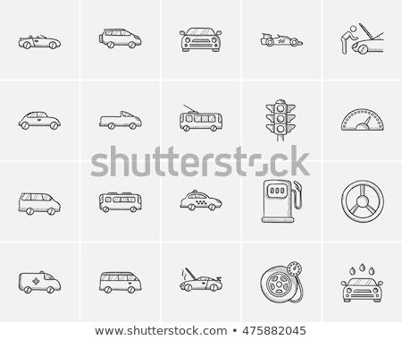 Minibus schets icon vector geïsoleerd Stockfoto © RAStudio