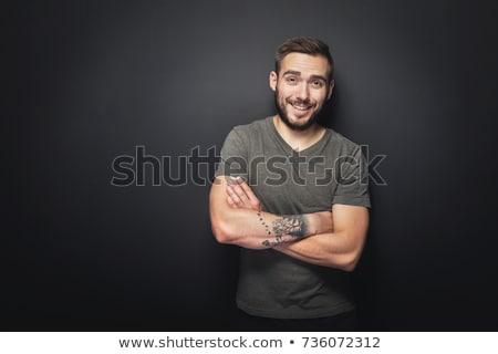 adam · siyah · stüdyo · portre · mutlu - stok fotoğraf © filipw