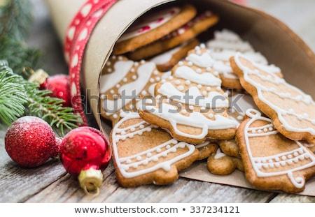 válogatás · karácsony · sütik · asztal · étel · gyertya - stock fotó © m-studio