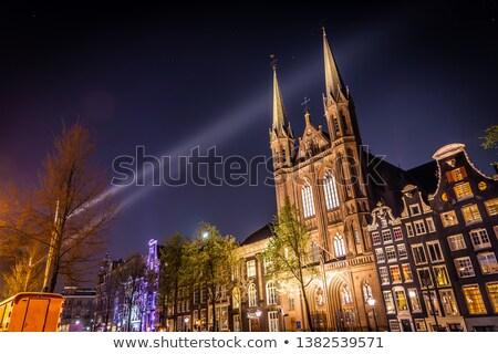 nacht · shot · kerk · centrum · Amsterdam · Nederland - stockfoto © dirkr