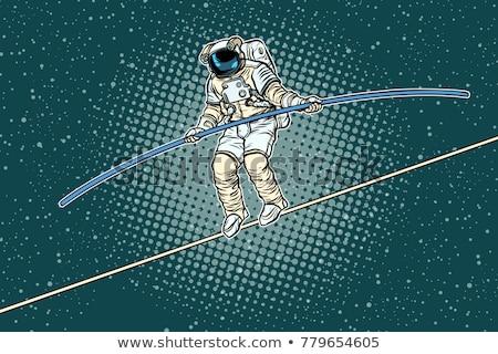 астронавт туго натянутый канат исследователь науки Поп-арт ретро Сток-фото © studiostoks