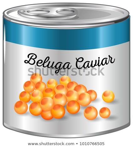 Kaviár alumínium konzerv illusztráció étel háttér Stock fotó © bluering