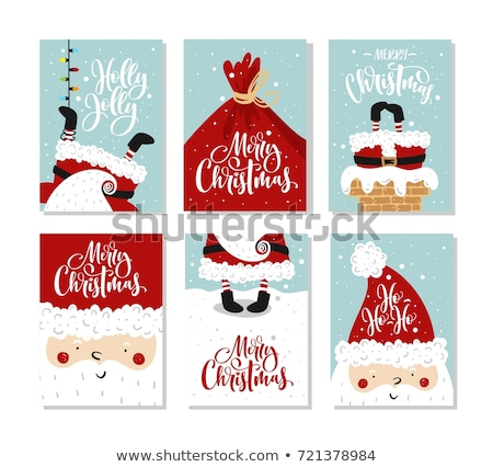 vintage new years card and santa claus hat stock photo © cammep