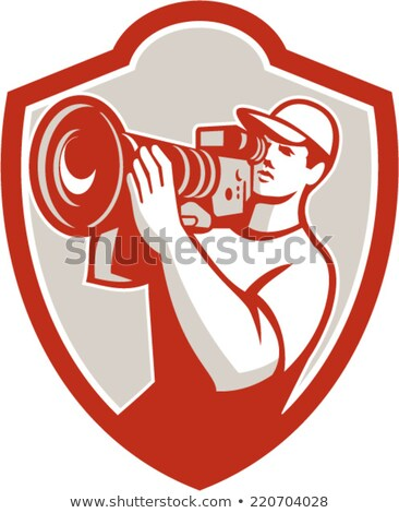 Cameraman Vintage Movie Film Camera Crest Retro Stock photo © patrimonio