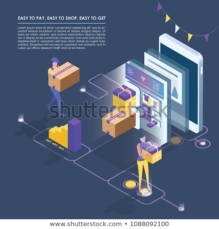 Supermarket online shopping isometric infographics stock photo © studioworkstock