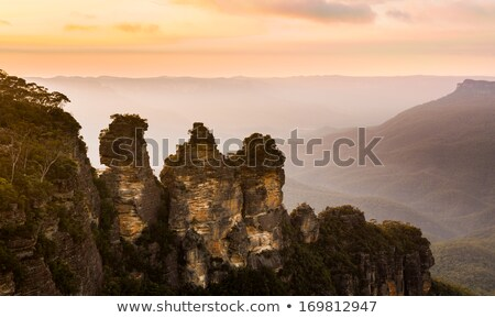 Scenic sunrise Three Sisters Echo Point Blue Mountains Australia Stock photo © lovleah