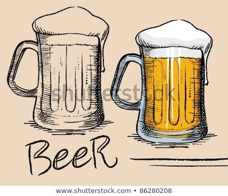 beer mug with foam in cartoon style stock photo © studioworkstock