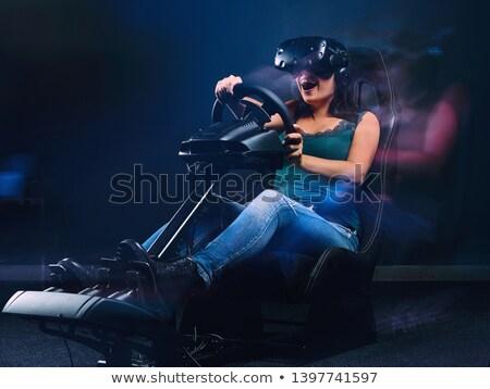 Virtual realidad volante conducción simulación blanco negro Foto stock © derocz