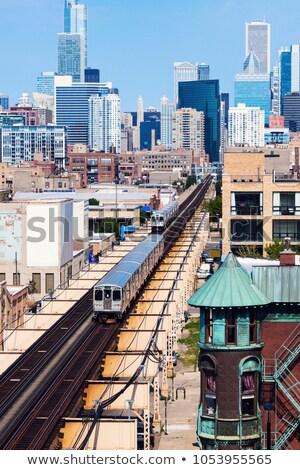 Tren şehir merkezinde Chicago Illinois ABD Bina Stok fotoğraf © benkrut