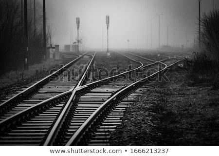 ferrovia · trilho · estrada · assinar · isolado · azul - foto stock © devon