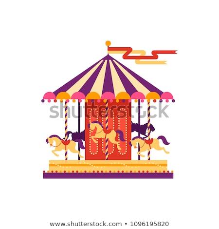 Carrousel kinderen speeltuin kleurrijk levendig geïsoleerd Stockfoto © robuart