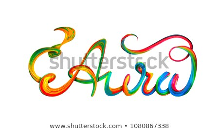 Aura colorful text, lettering design on white Stock photo © m_pavlov