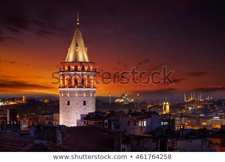 Galata Tower at sunset Stock photo © Givaga