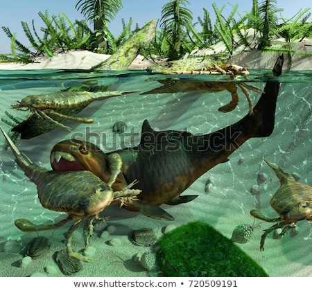 Sahne örnek palmiye ağaçları dinozor kemikleri ağaçlar Stok fotoğraf © lenm