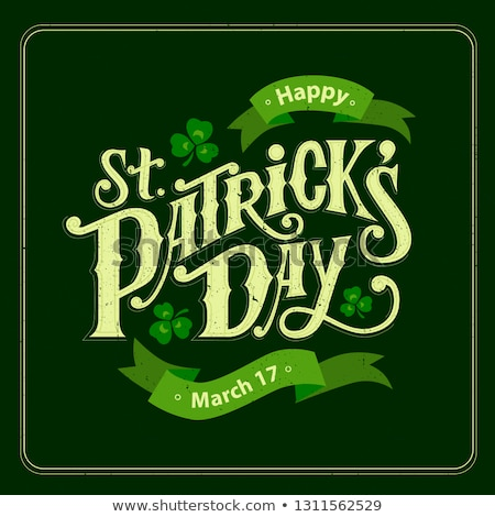 Saint Patrick's Day Party Flyer Illustration with Clover and Typography Letter on Green Background.  Stock photo © articular