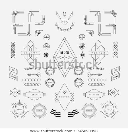 Egyszerű monokróm esküvő szimbólumok gyűrűk szívek Stock fotó © blumer1979