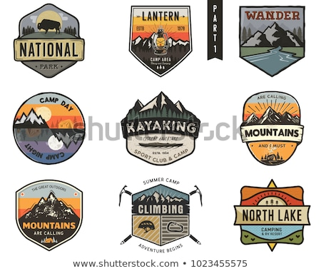 vintage hand drawn travel badge camping label concept mountain expedition logo design travel badg stock photo © jeksongraphics