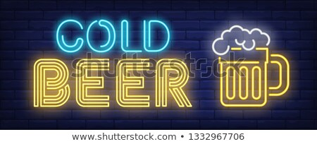 beer pint with foam neon sign vector illustration stock photo © robuart