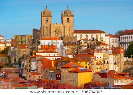 panorama · schemering · oude · binnenstad · schemering · Portugal · stad - stockfoto © joyr
