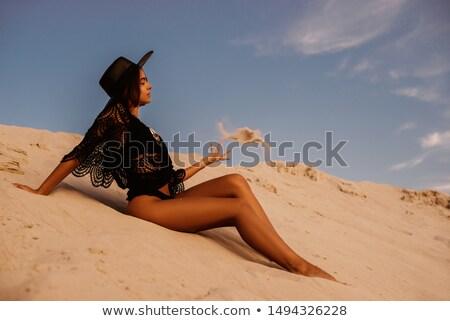 Portré gyönyörű nő fekete csipke blúz ruhátlanul Stock fotó © Pilgrimego