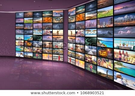 液晶 · テレビ · 壁 · 静的 · 現代 · テレビ - ストックフォト © romvo