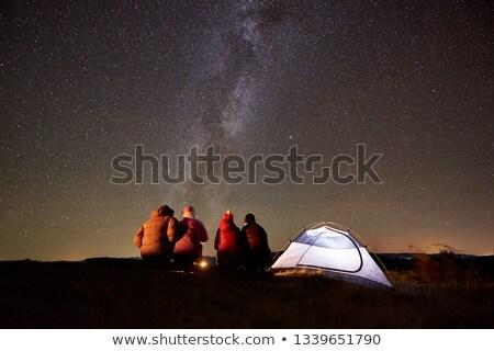 Stock fotó: Fickó · néz · sátor · hegyek · kilátás · norvég