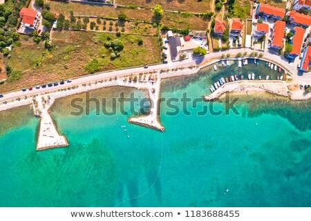 zaton beach and small harbor aerial view stock photo © xbrchx
