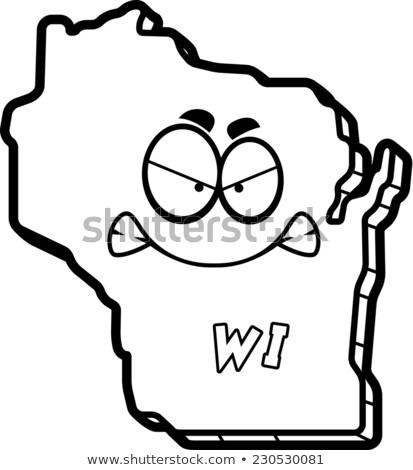 Cartoon сердиться Висконсин иллюстрация глядя Америки Сток-фото © cthoman