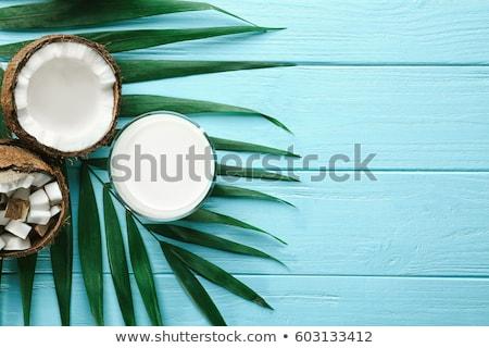 ココナッツ 青 表 白 木製 ストックフォト © dash