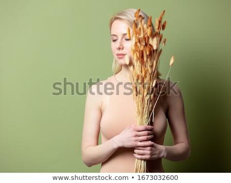 portret · jonge · sexy · vrouw · gouden · verf · donkere - stockfoto © mtoome