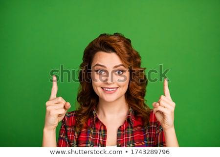 Feliz mulher jovem cara shamrock dia de São Patricio Foto stock © dolgachov