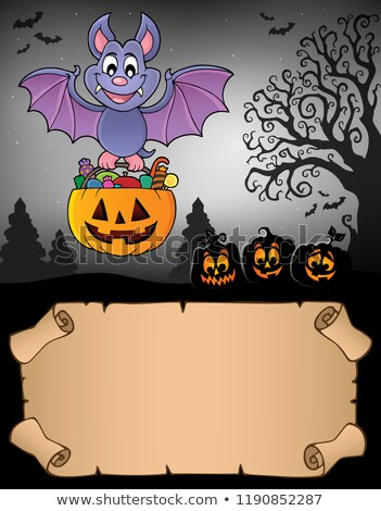 Small parchment and Halloween bat 2 Stock photo © clairev