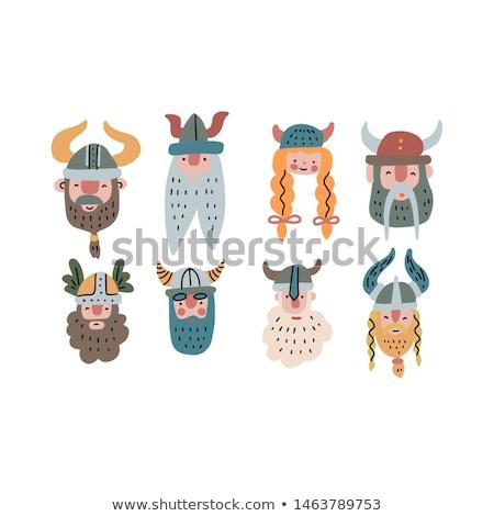 Cartoon sonriendo vikingo mujer mujer sonriente Foto stock © cthoman