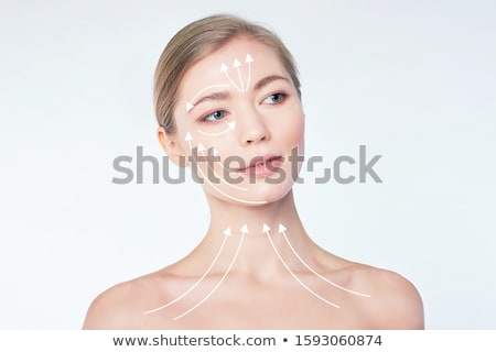 Szczęśliwy kobieta korekta linie twarz wielokrotność Zdjęcia stock © AndreyPopov