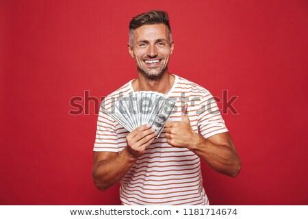写真 ブルネット 男 縞模様の Tシャツ 笑みを浮かべて ストックフォト © deandrobot