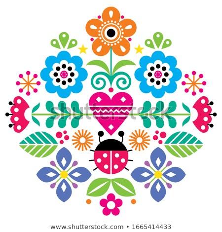 bonitinho · crianças · natureza · elementos · padrão · flores - foto stock © redkoala