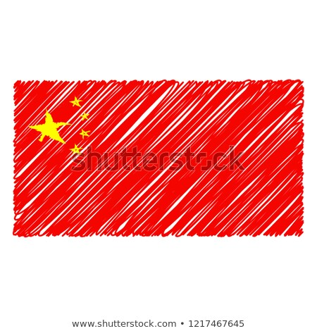 Dibujado a mano bandera China aislado blanco vector Foto stock © garumna