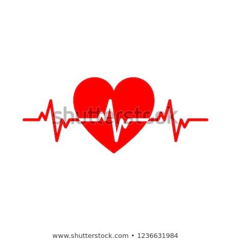 coeur · suivre · médicaux · électrocardiogramme · bleu · symbole - photo stock © alexaldo