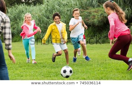 gyerekek · játszanak · papírsárkány · illusztráció · lány · gyerekek · gyermek - stock fotó © colematt