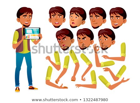 Teen Boy Vector. Teenager. Positive Person. Face Emotions, Various Gestures. Animation Creation Set. Stock photo © pikepicture