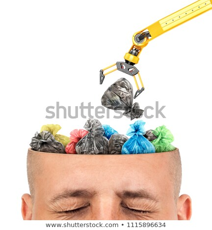 Garbage in head. Rubbish in brain. Open head Stock photo © MaryValery