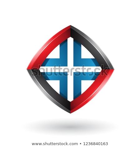 black blue and red skewed diamond shape vector illustration stock photo © cidepix