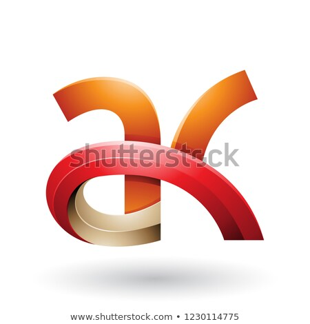 Orange and Red 3d Bold Curvy Letter A and K Vector Illustration Stock photo © cidepix