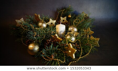 Stok fotoğraf: Christmas Decor Candles And Fir Tree Branch