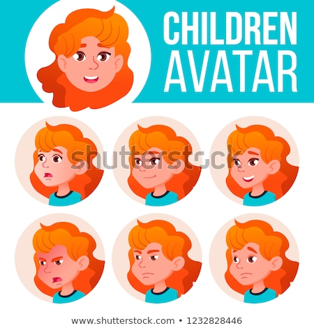 Girl Avatar Set Kid Vector. Primary School. Red Head. Face Emotions. School Student. Kiddy, Birth. A Stock photo © pikepicture