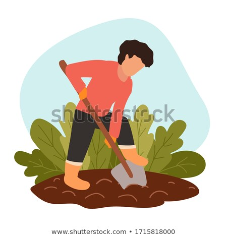 Farming Person Digging Land Vector Illustration Stock photo © robuart