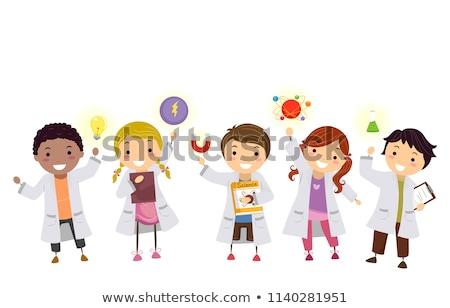Kid jongen lab toga atoom illustratie Stockfoto © lenm