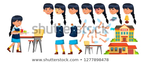 Asian Girl Vector. Primary School Child. Animation Creation Set. Face Emotions, Gestures. Life, Emot Stock photo © pikepicture