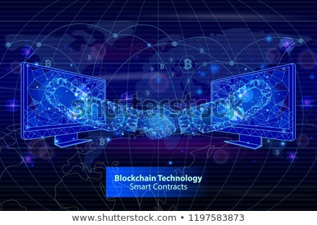 Blockchain Technology Contracts Poster Vector Stock photo © robuart