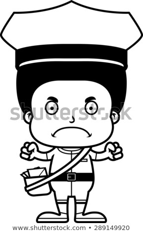 Cartoon Angry Mail Carrier Boy Stock photo © cthoman
